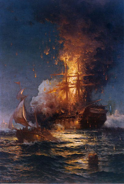Burning of the USS Philadelphia during the First Barbary War.