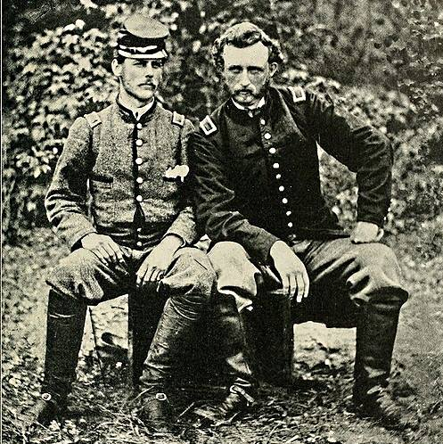 Custer with ex-classmate, friend, and captured Confederate prisoner, Lt. J.B. Washington