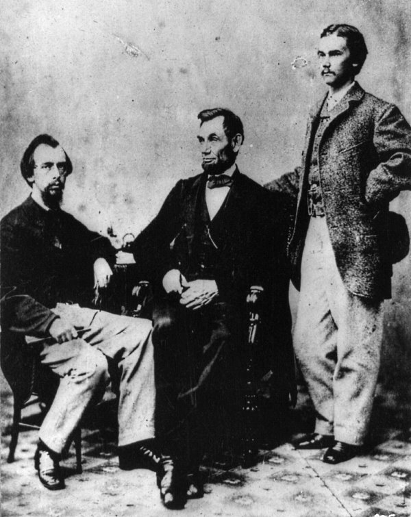 Lincoln With Secretaries Nicolay and Hay