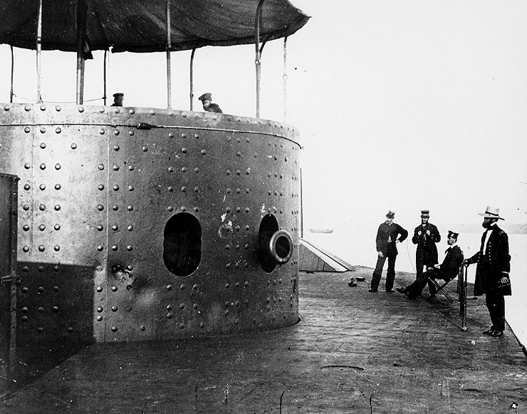 USS Monitor with visible dents after Battle of Hampton Roads