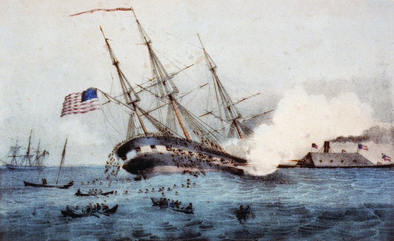 CSS Virginia sinking USS Cumberland - Battle of Hampton Roads - March 8, 1862