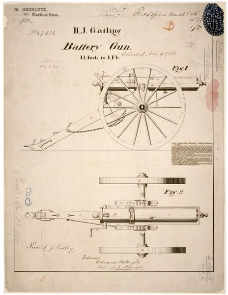 Gatling Gun drawings