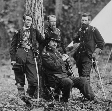 Union Generals, Winfield S. Hancock,Francis C. Barlow, David B. Birney, and John Gibbon