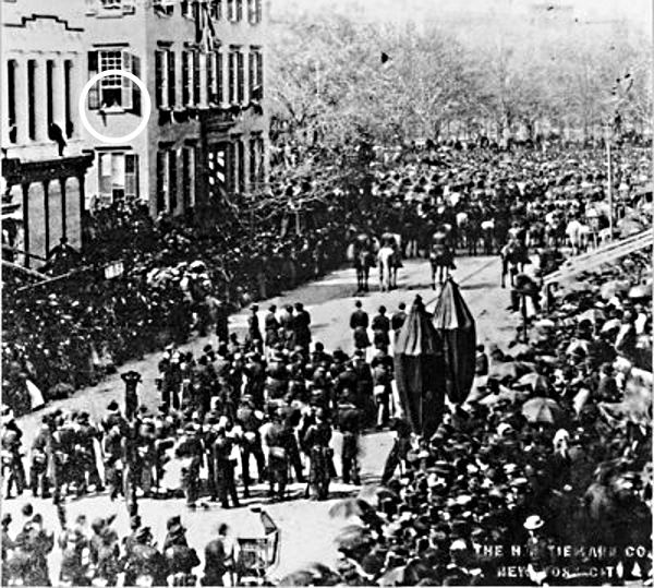 Teddy Roosevelt Watching Lincoln Funeral Procession
