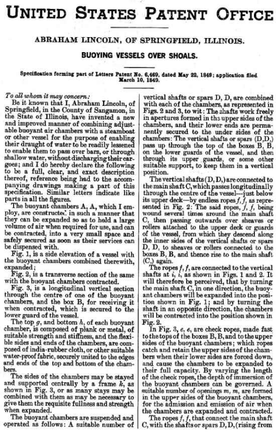 Lincoln Patent Page 1